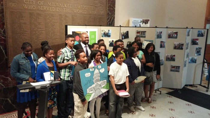 The Youth Council receiving their award at City Hall.