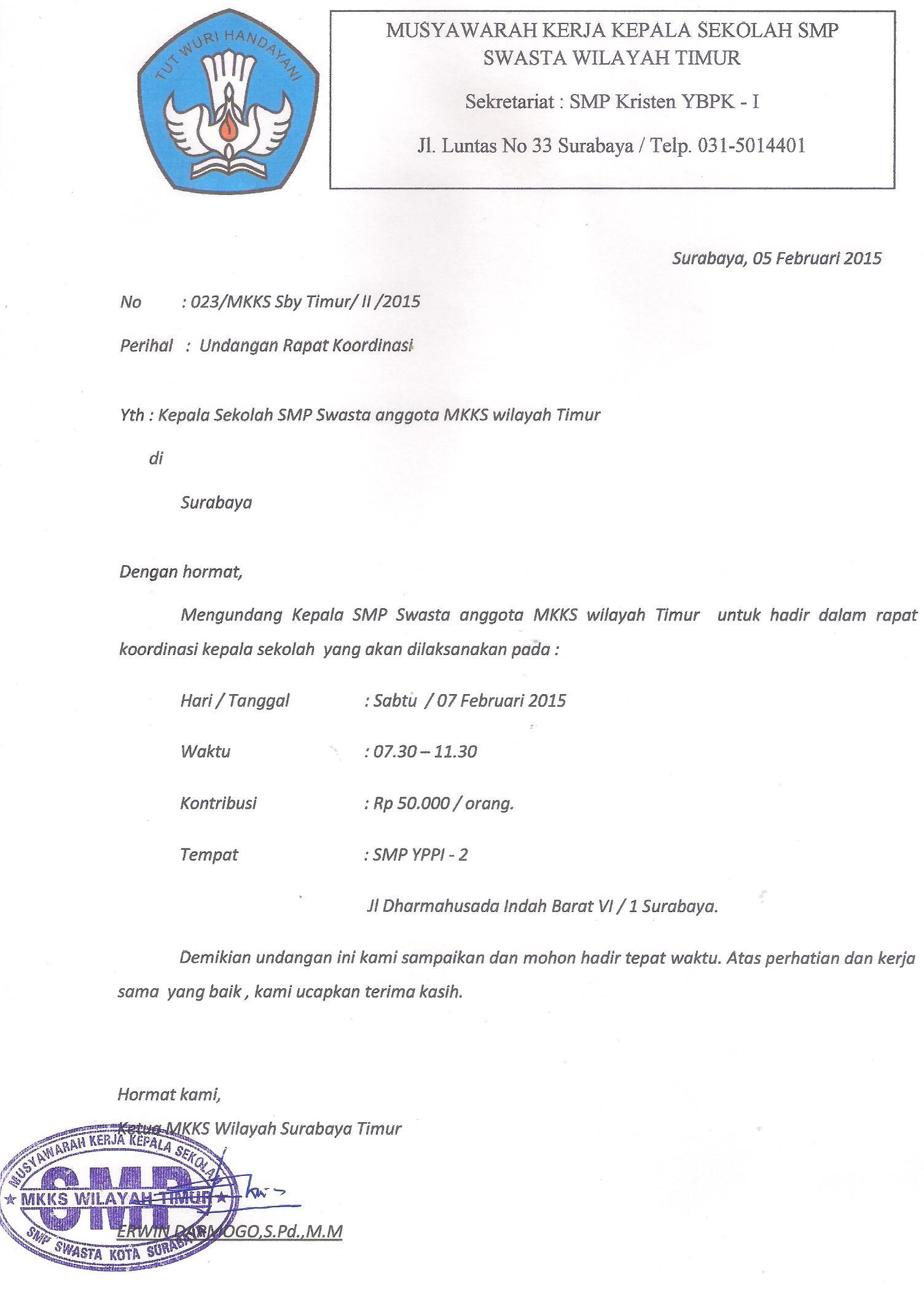 Info Mkks Undangan Rapat Kepala Sekolah Mkks Smp Swasta Wilayah