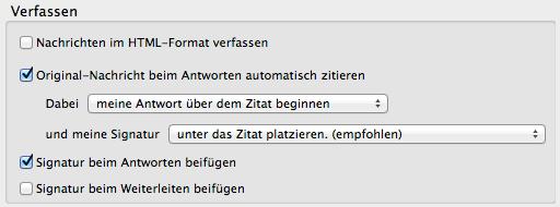 Konfiguration E-Mailprogramm: Reintext und Zitatauswahl