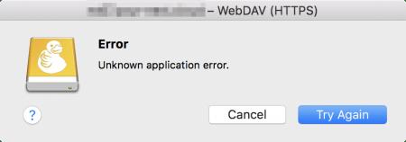 Fehlermeldung Mountain Duck: Unknown application error.