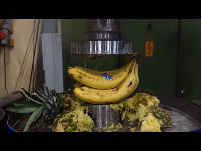 Making Fruit Salad With Hydraulic Press Is As Messy As You Imagined
