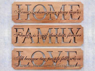 "SLDK313 - Set of ""Home, Family & Love"" Word Art | Scroll Saw ..."