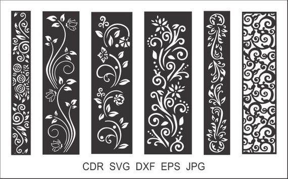6 Borders Cutting File for Laser, Cnc, plasma, Cricut Floral Wall Stencil, Decorative Elegant Border, Cdr, Svg, Dxf, Eps, AI, JPG Formats