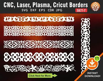 6 Borders Cutting File for Laser, Cnc, plasma, Cricut Floral Wall Stencil, Decorative Elegant Border, Cdr, Svg, Dxf, Eps, AI, JPG Formats
