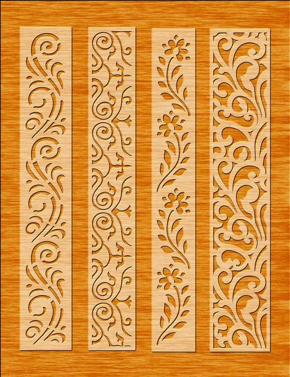 8 Border Cutting File For Laser, Cnc & Plasma, Cricut Floral Wall Stencil, Decorative Elegant Border, Cdr, Svg, Dxf, Eps, Ai, Jpg formats