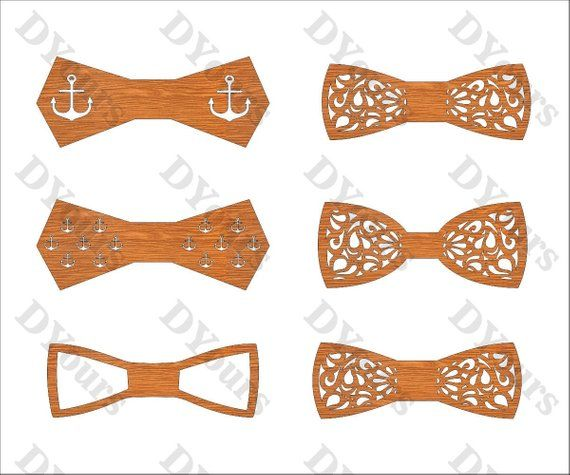 Bowties Plans for Laser CNC Cutting Wooden Men Gift Plywood Wood Gift Laser Cut Model svg cdr ai pdf dxf Files for CNC Laser Cutting
