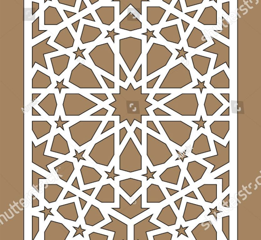 Laser cutting. Arabesque vector panel. Template for interior partition in arabic...