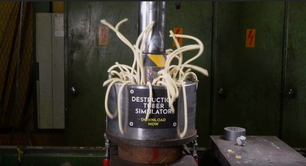 Watch Play-Doh in a hydraulic press make a stringy mess / Boing Boing