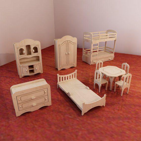 Puppenmöbel Pack. Vektormodelle für CNC-Fräser und Laserschneiden. Maßstab 1...