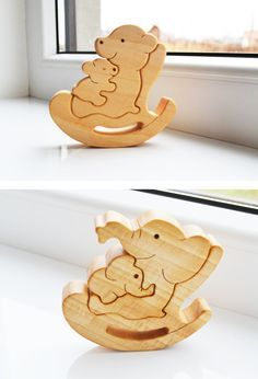 Kids gift Wood bear Wooden Puzzle bear Educational toys montessori toys Mother's day gift Animal puzzle bears family new mom gift