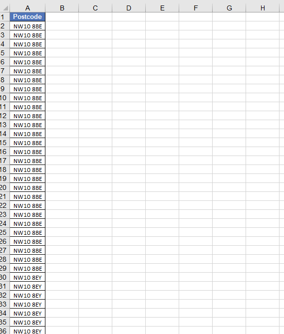 MS Excel postcode list without address for London