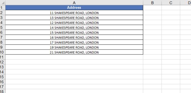 MS Excel address without postcode