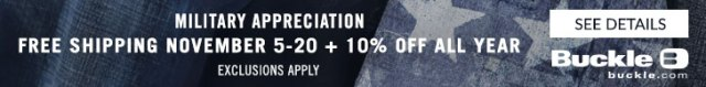 10% Off Every Day with your Military ID at Buckle - get verified today!
