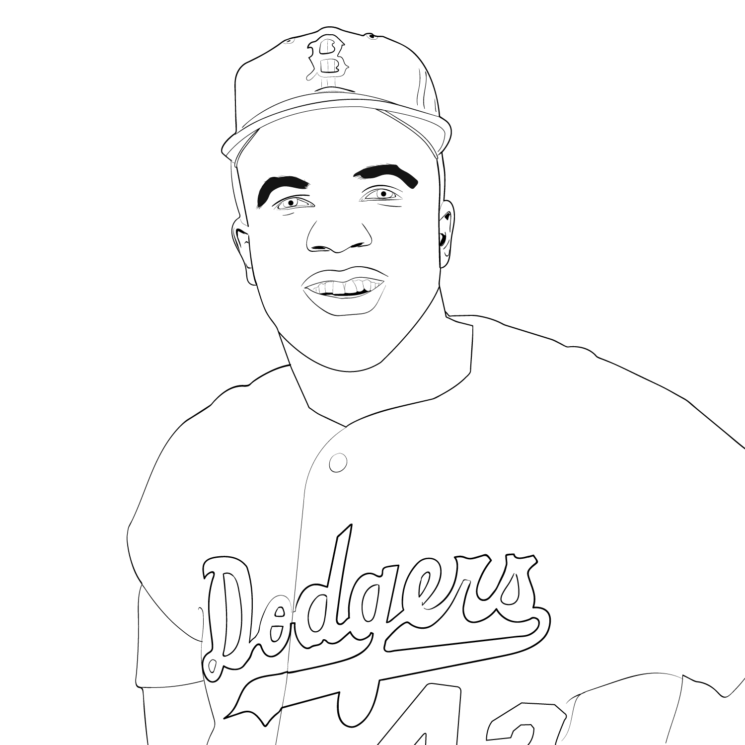 Jackie Robinson Coloring Page