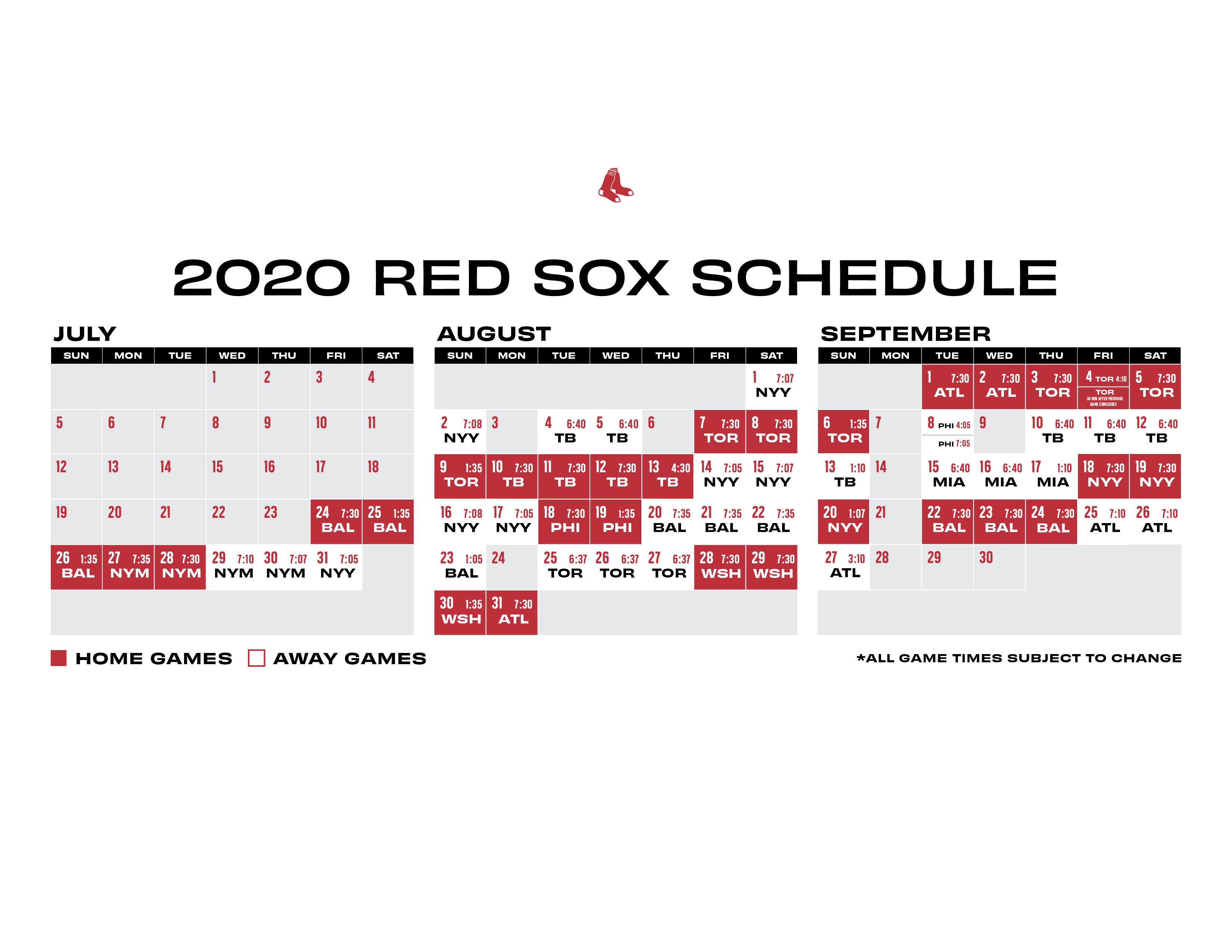Regular Season Printable Schedule
