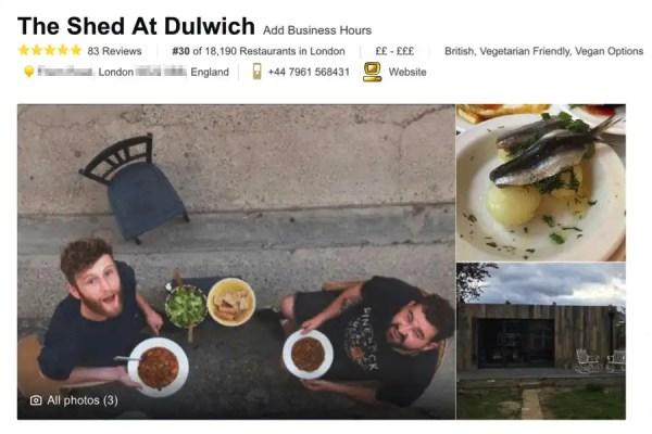 EL PODER DEL MARKETING DIGITAL Un falso restaurante logra el primer puesto en TripAdvisor