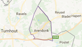Kaart luchthavenvervoer in Arendonk