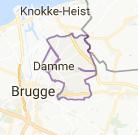 Kaart luchthavenvervoer in Damme