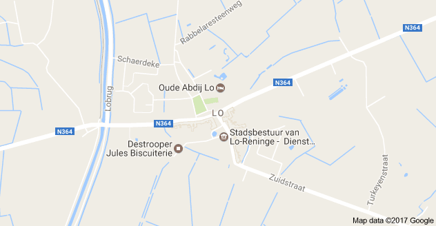 Kaart luchthavenvervoer in Lo-Reninge