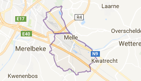 Kaart luchthavenvervoer in Melle