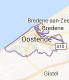 Kaart luchthavenvervoer in Oostende