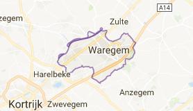 Kaart luchthavenvervoer in Waregem