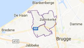 Kaart luchthavenvervoer in Zuienkerke