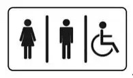 Icon for bathroom signage showing three images separated by two black lines. Images are of a woman, a man and a person in a wheelchair on a white background with a black border.