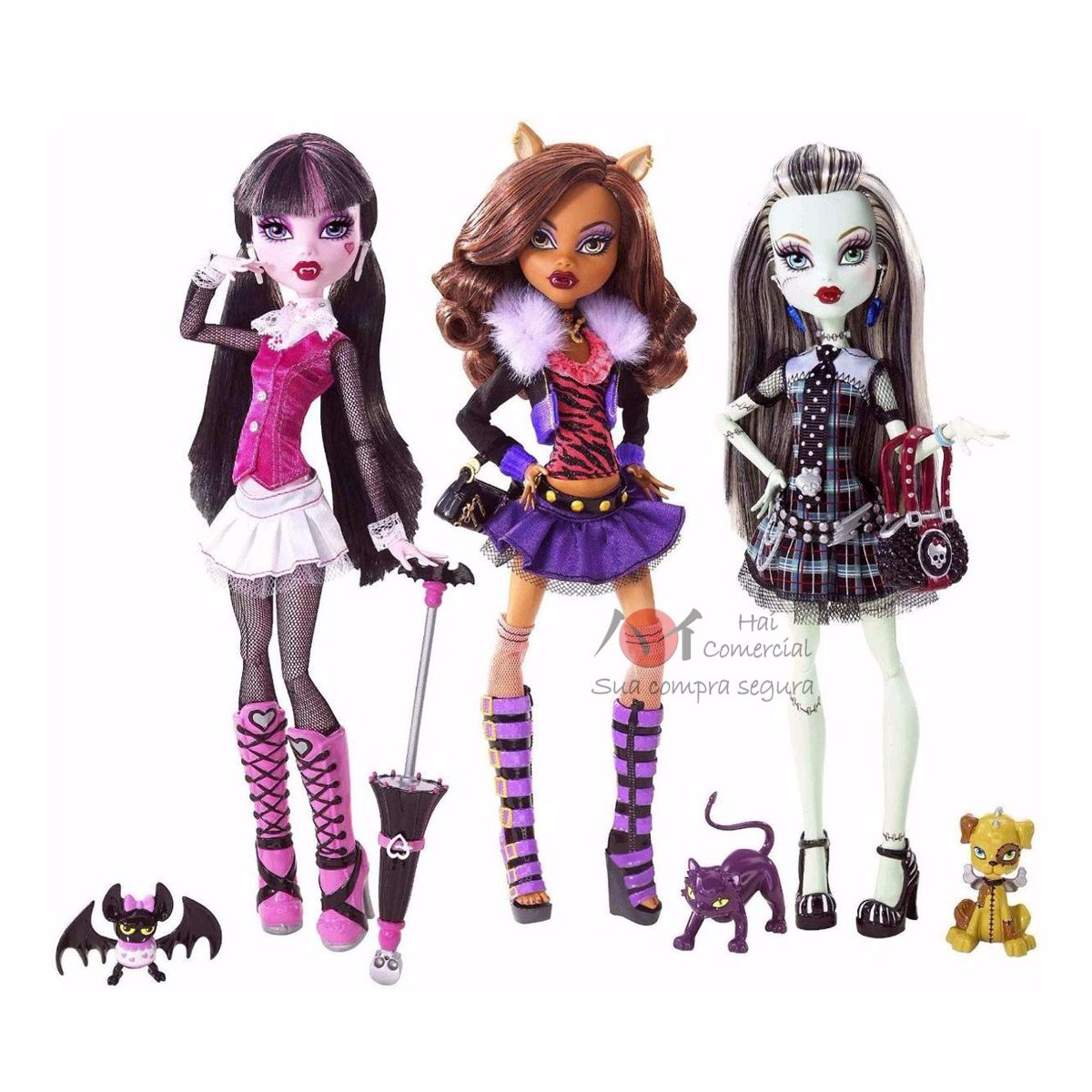 Kit C 3 Monster High Classicas Draculaura Frankie Clawdeen