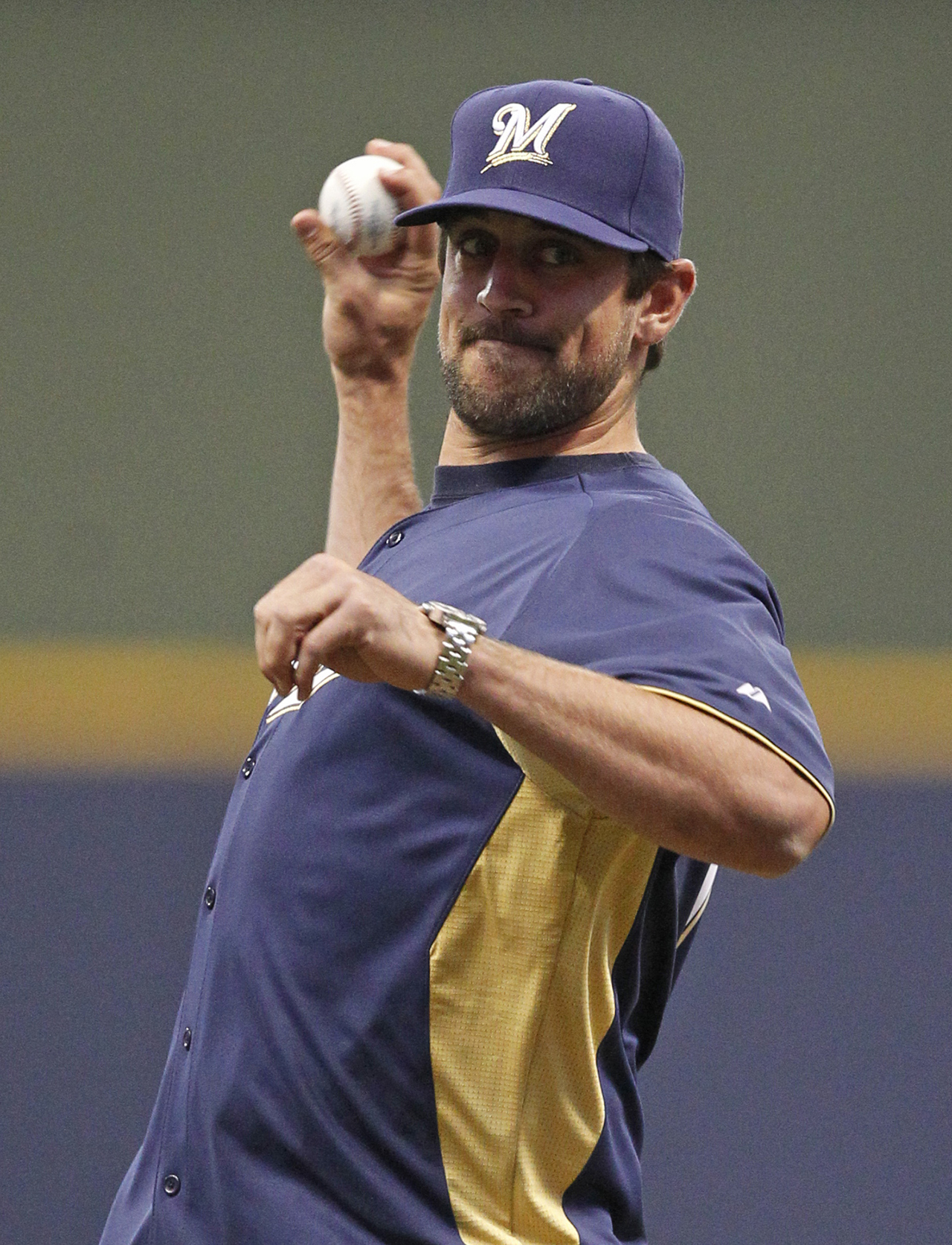 Image result for Aaron rodgers throwing in a baseball hat