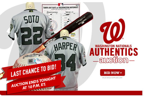 outlet store 0d563 343c1 Last Chance to Bid: Washington Nationals Authentics Auction ...