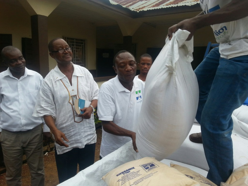 MLAg CEO Ola Smart personally delivering our nutritious rice as food aid to Ebola Victims and Quarantined famillies