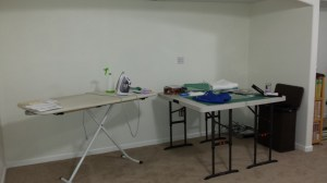 Temporary Ironing and cutting space.