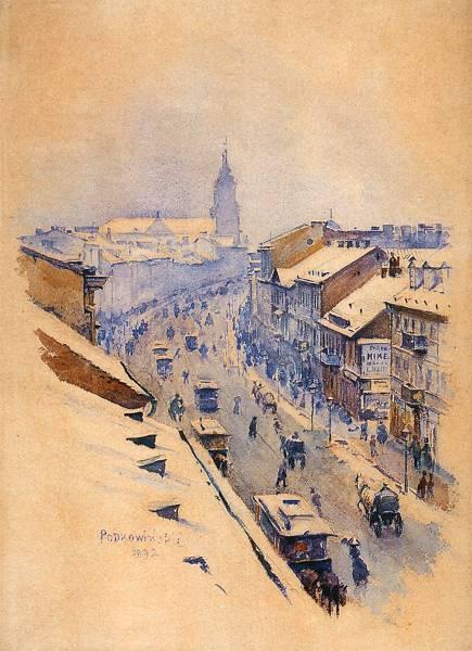 Władysław Podkowiński, Nowy Świat zimą [olej na płótnie, 1892. Zbiory Muzeum Narodowego]