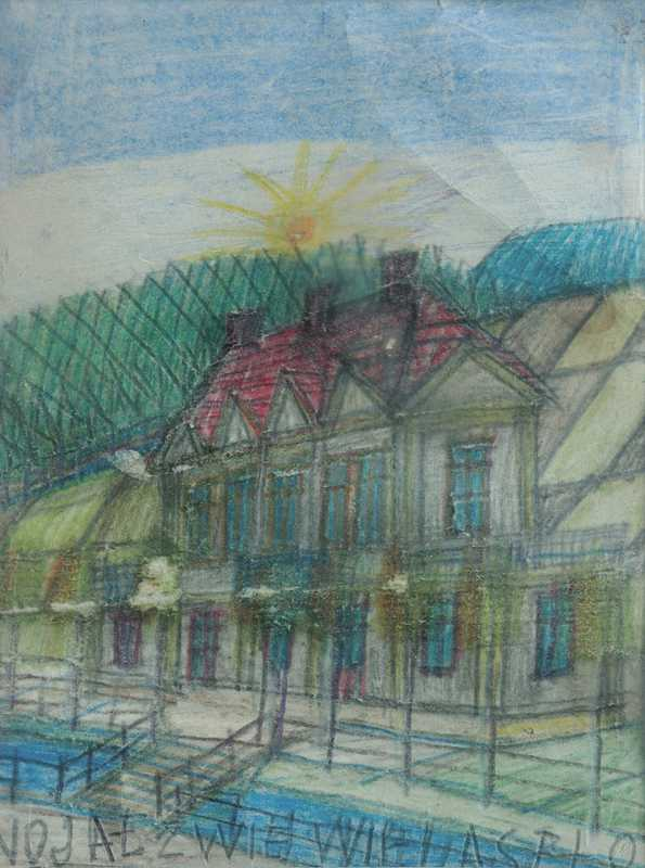 Nikifor Krynicki: Pejzaż miejski (kredka, ok. 1958r.), własność prywatna