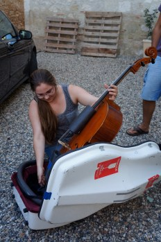 At Musique à Marsac in southwest France, making sure the cello was unscathed!