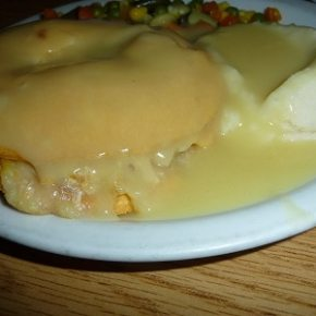Hot chicken pot pie, gravy and potatoes.