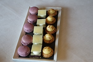 Macaroons and tiny crème desserts