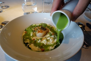 Scallop with watercress and lemon mousse