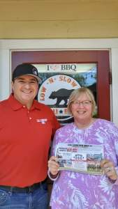 Owner Shawn and I with bbq schedule