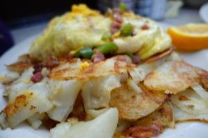 Home fries and omelette