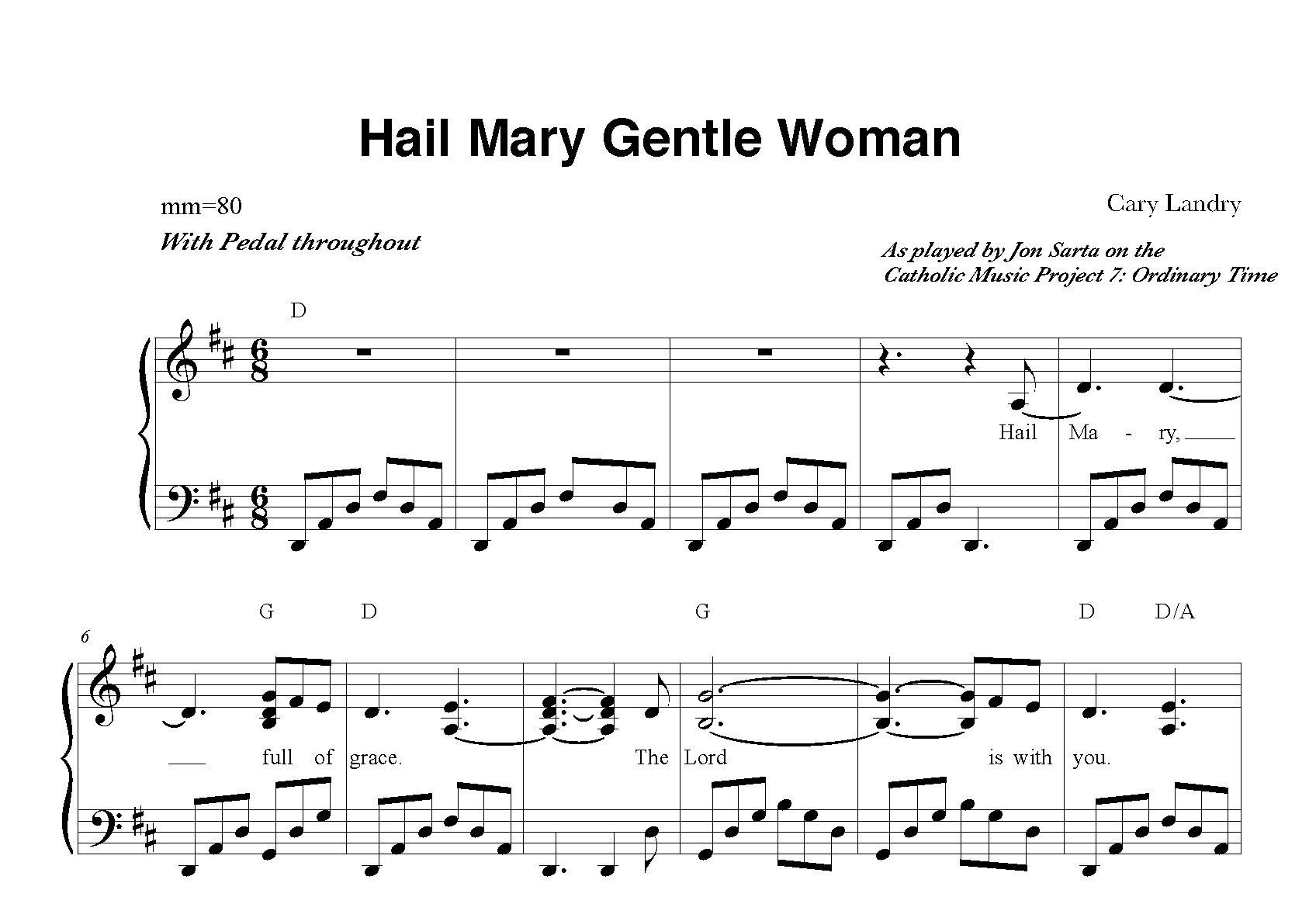 Hail Mary Gentle Woman Sheet Music Jon Sarta Piano