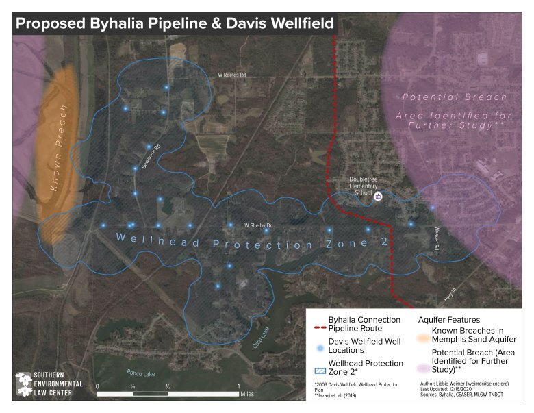 Map of the Byhalia Connection Pipeline route through an MLGW wellfield.