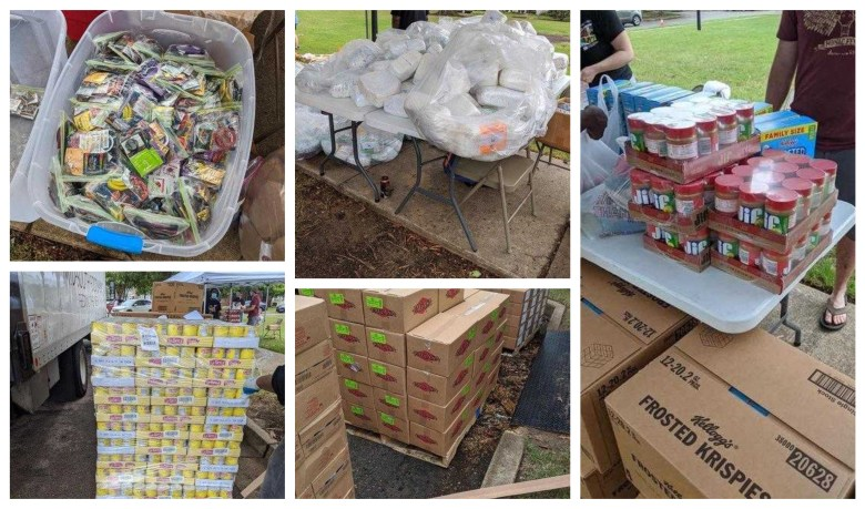 A photo collage showing free food items for distribution.