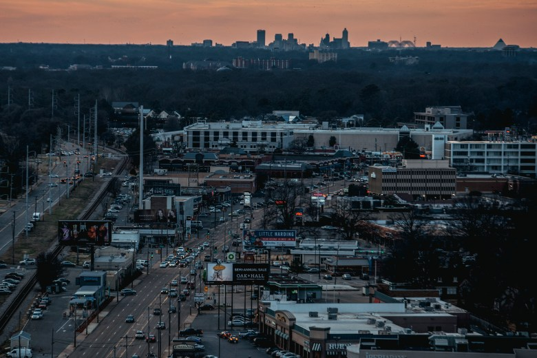 A view of Memphis along Poplar Avenue from the i-Bank tower in East Memphis.