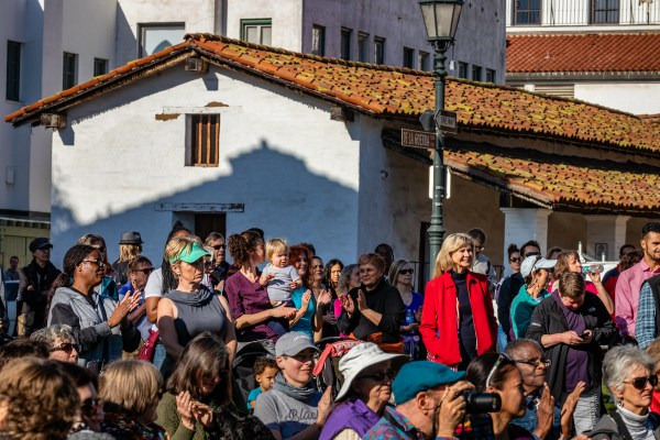 (January 2017) US Congresswoman Lois Capps (in red) was instrumental in organizing the current Martin Luther King Jr. Committee of Santa Barbara.  MLKSB Morning Program in De La Guerra Plaza, Santa Barbara, CA. (Photo by Rod Rolle)