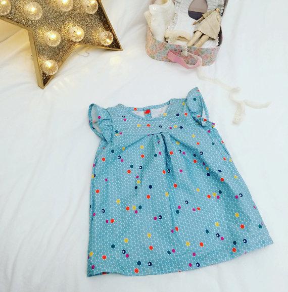 robe manches à volant en tissu 100% coton bio taille 12 mois