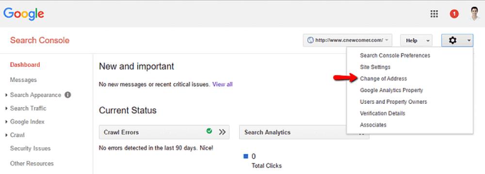 como notificar o google sobre uma alteração de nome de domínio