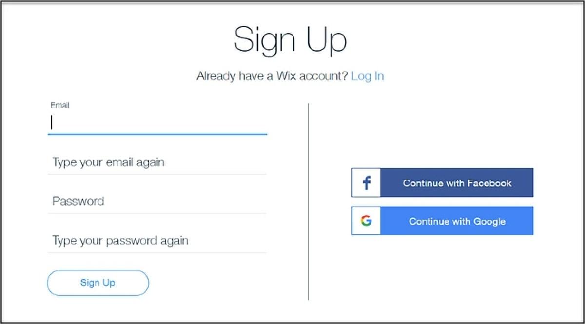 Crie um site com o Wix inscrevendo-se em uma conta