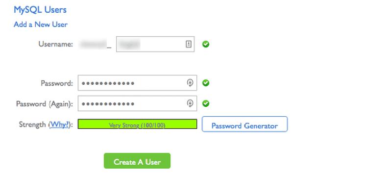 adicionar um usuário de banco de dados